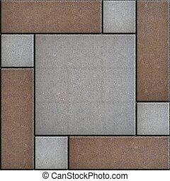 Rectangular Paving Slabs Laid as Square Seamless Texture -...