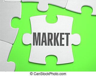 Market - Jigsaw Puzzle with Missing Pieces. Bright Green...