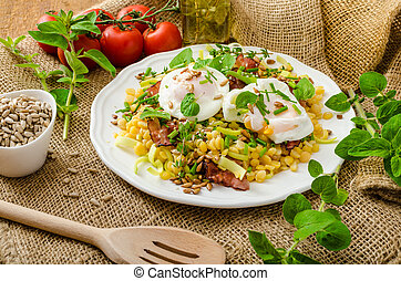 Spring salad of lentils with poached egg - Spring salad from...