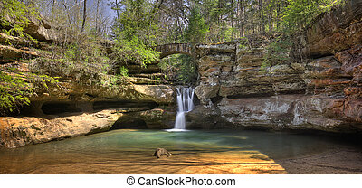 Hocking HIlls Waterfall - Upper Falls at Old Mans Cave in...