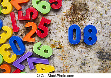 Number blocks magnetized to play for children with...