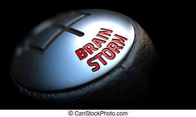 Brain Storm on Gear Shift - Gear Stick with Red Text Brain...