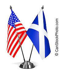 EUA, e, Escócia, -, miniatura, Flags.,