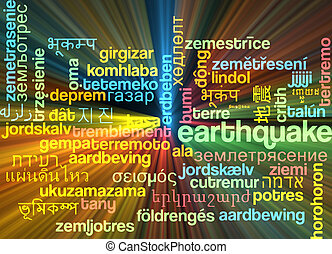 Earthquake multilanguage wordcloud background concept...