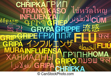 Flu multilanguage wordcloud background concept glowing