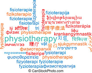Physiotherapy multilanguage wordcloud background concept