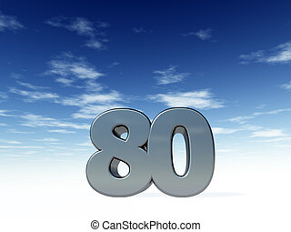 eighty - the number eighty - 80 - in front of blue sky - 3d...