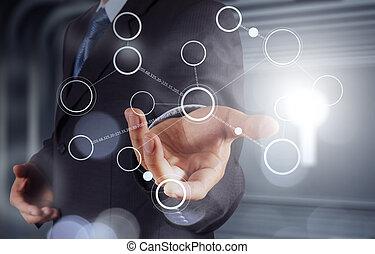 概念, 現代, 流れ, チャート, 手, コンピュータ, ブランク, 新しい, 図画