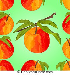Seamless texture peach with leaves vector.eps
