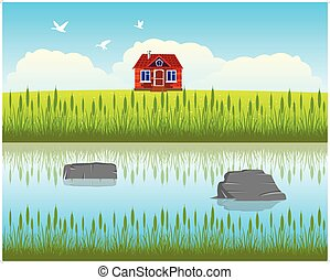 Riverside House - The House ashore calm and clean yardVector...
