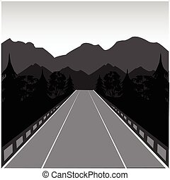 Road in mountain - The Car road in mountain and woodVector...