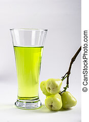green rose apple - juice green rose apple on white...