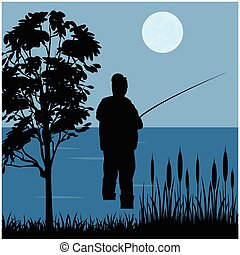 Fisherman goes fishing - Silhouette of the fisherman with...