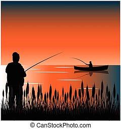 Bulrush on lake