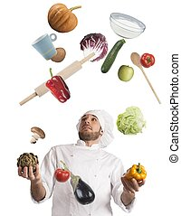 Juggle while cooking - Playful chef likes to juggle while...