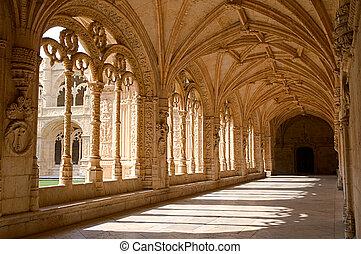 Mosteiro Dos Jeronimos - Interior corridor of the Mosteiro...