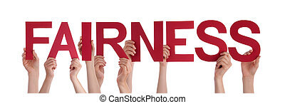 People Hands Holding Red Straight Word Fairness - Many...