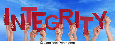 Many People Hands Hold Red Word Integrity Blue Sky - Many...