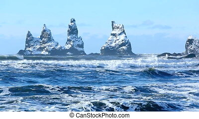 Three pinnacles of Vik, Iceland - The three pinnacles of...