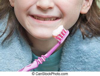 刷, 女孩, 她, 牙齒