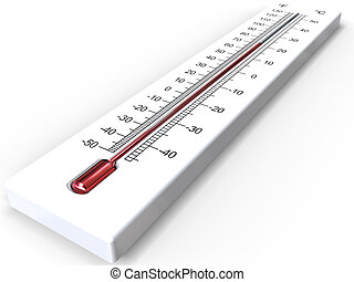 White 3D thermometer - 3D rendering of white thermometer on...