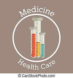 Medicine and healthcare design over brown background, vector...