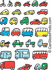 easy transportation vehicle collection isolated on the white...