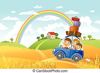 Family summer adventure - Family traveling in the car to a...