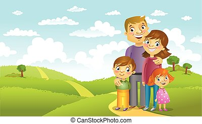 Happy family against a beautiful landscape, vector...