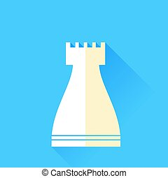 Rook Chess Icon Isolated on Blue Background