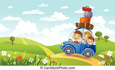 Family summer adventure - Family traveling in the car,...
