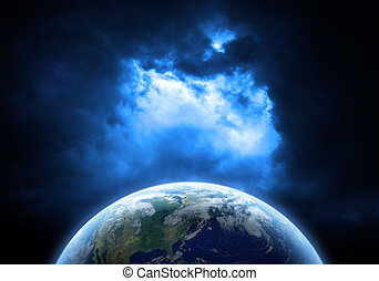 Planet with galaxy Elements of this image furnished by NASA