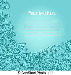 Card with floral paisley pattern