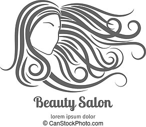 Beauty salon logo or cosmetic badge. Woman with long hair