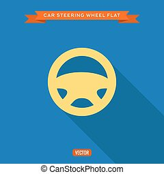 Car steering wheel into flat style, vector illustrations
