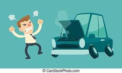 businessman and broken car - businessman get frustrated...
