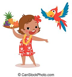 tropical island girl and parrot - illustration of a cheerful...