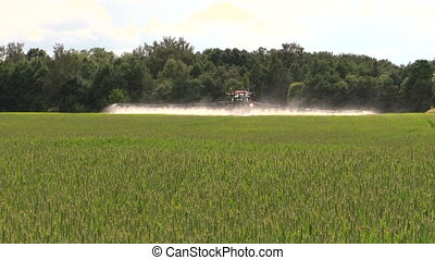 farmer spray wheat field - Farmer with tractor spray wheat...