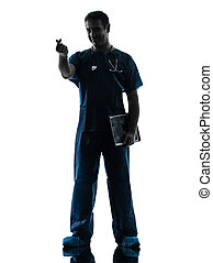 doctor man silhouette standing full length gesturing money