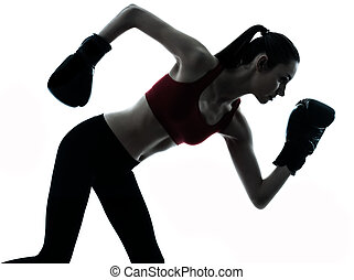 beautiful woman exercising boxe silhouette