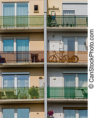 balconies in a residential building - many balconies in an...