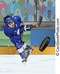 Tampa Bay ice hockey player - Cartoon-style illustration: a...