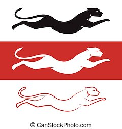 Vector image of an cheetah on white background and red...