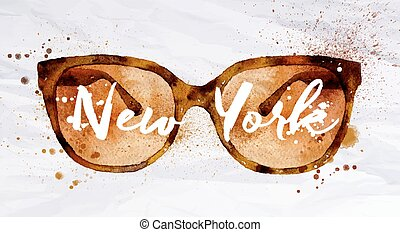 Watercolor glasses New York - Watercolor vintage glasses New...