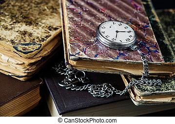 bolsillo, viejo, Libros, reloj
