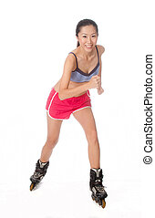 Rollerblading Woman - Asian woman rollerblading on white...