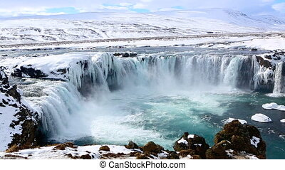 Waterfall Godafoss in Iceland - Icelandic waterfall Godafoss...