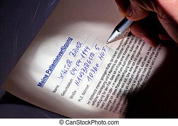 vivendo, vontade, é, escrito,
