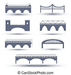 Vector bridge icon set - Vector flat bridge icon set, vector...