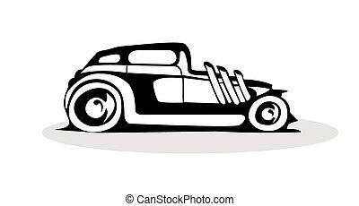 black retro car logo on a white background